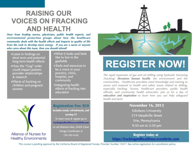 Raising Our Voices on Fracking and Health - November 16, 2013