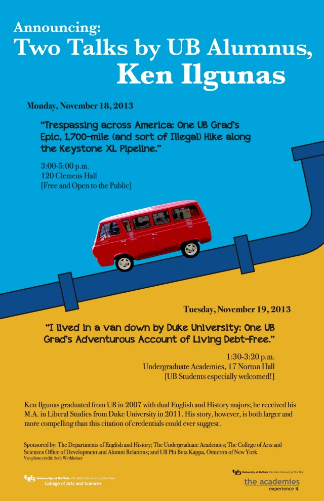 Two Talks by UB Alumnus, Ken Ilgunas - November 18-19, 2013